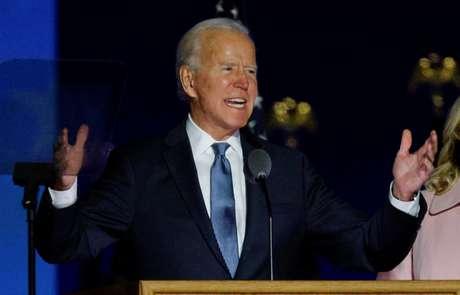 Joe Biden discursa em Wilmington, no Estado norte-americano de Delaware 04/11/2020 REUTERS/Brian Snyder