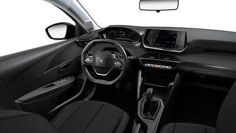 Interior do novo Peugeot 208 Like Pack, que tem multimídia e câmbio manual de cinco marchas.