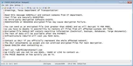 Bilhete de resgate para TxDOT (Imagem: Bleeping Computer)