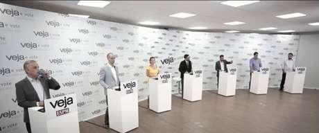 Arthur do Val (Patriota), Bruno Covas (PSDB), Guilherme Boulos (PSOL), Jilmar Tatto (PT), Joice Hasselmann (PSL) e Márcio França (PSB) participam de debate da revista 'Veja'.