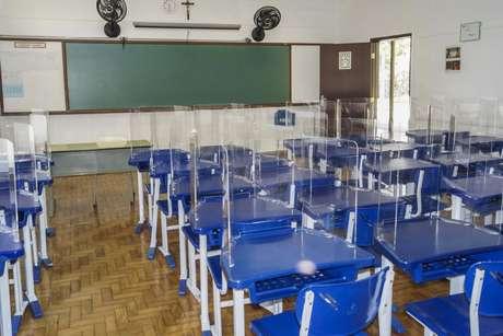 Sala de aula do tradicional colégio da zona sul de São Paulo (SP), na região de Santo Amaro, na rua Sargento Geraldo Santana