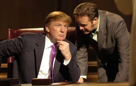 Trump e seu produtor e amigo Mark Burnett durante gravação da primeira temporada de 'O Aprendiz', em 2004