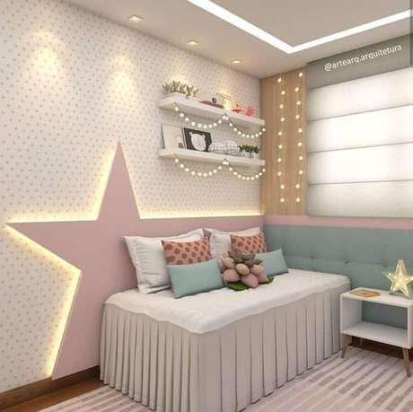 14. Ilumine sua cabeceira para cama infantil – Via: Arte Arquitetura
