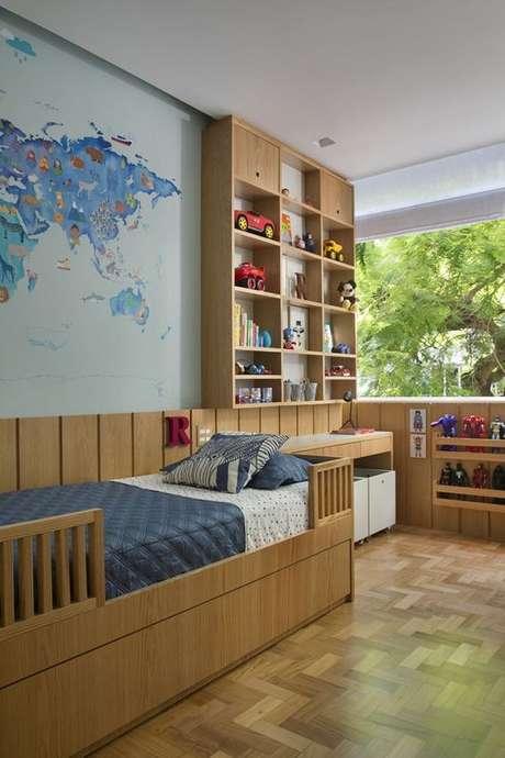 15. Cabeceira infantil madeira – Via: Casa Vogue