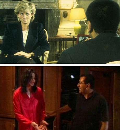 Acima, Bashir na reveladora entrevista com Diana; abaixo, nos bastidores das gravações com Michael Jackson