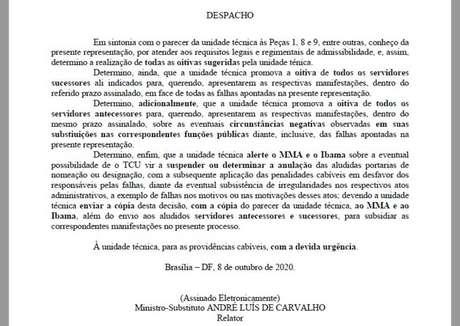 Ministro André Luísde Carvalho alerta sobre possibilidade de suspensão de nomeações e responsabilização por atos.