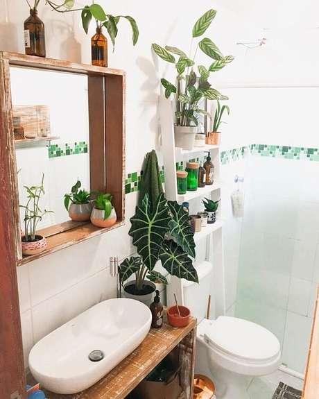 31. A Alocasia cuidados é perfeita para ser cultivada no banheiro. Fonte: Pinterest