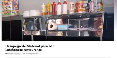 Grupo de compra e venda de equipamentos usados de restaurantes, no Facebook