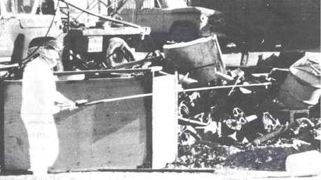 Os grânulos foram espalhados pelas instalações de comercialização de ferro
