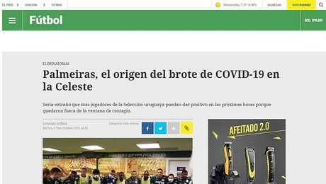 Jornal uruguaioOvaciónaponta que Palmeiras é origem das contaminações na seleção celeste