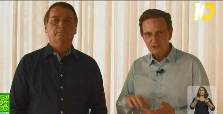 Bolsonaro gravou vídeo de campanha com Marcelo Crivella no primeiro turno.