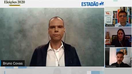 O candidato à reeleição na Prefeitura de São Paulo, Bruno Covas (PSDB), durante sabatina com jornalistas do Estadão