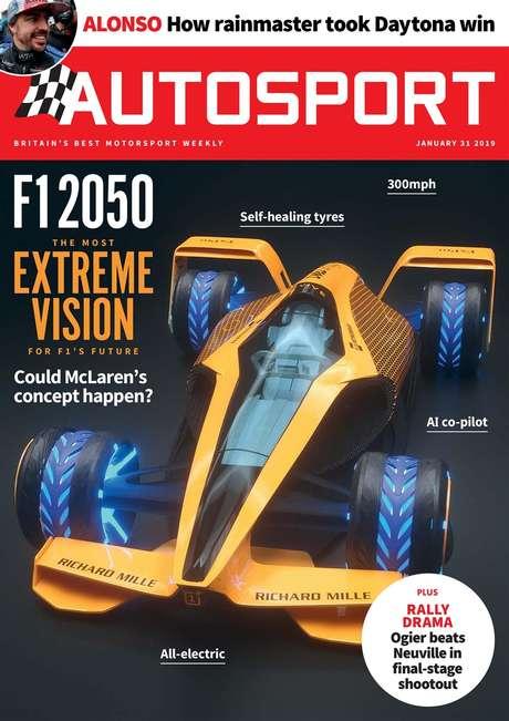 Revista inglesa Autosport publicou em 2019 uma capa com o que seria um carro de F1 totalmente elétrico a partir de 2050, mas talvez isso ocorra bem antes.