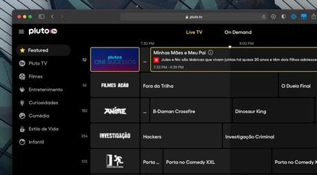 Guia de programação de canais (Imagem: Pluto TV/Reprodução)