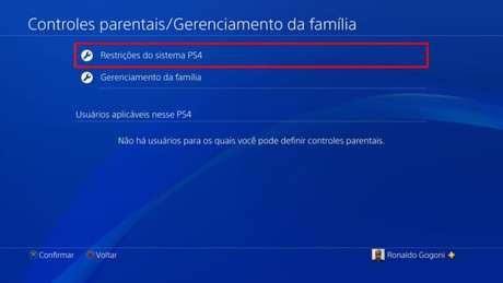 Tela de controles parentais do PS4 (Imagem: Reprodução/Sony)