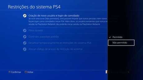 Tela de configuração de restrições do PS4 (Imagem: Reprodução/Sony) / como colocar uma senha no PS4