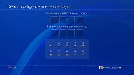 Tela de criação do código de acesso de login no PS4 (Imagem: Reprodução/Sony)