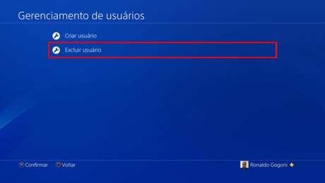 Tela de gerenciamento de usuários do PS4 (Imagem: Reprodução/Sony)