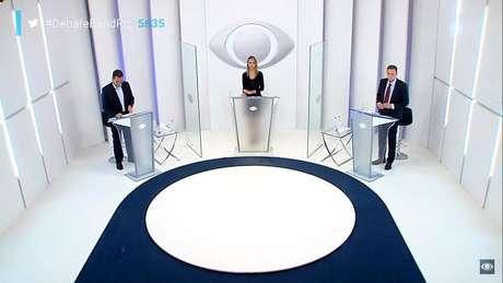 Debate na TV Band para o segundo turno no Rio entre Eduardo Paes (DEM) e Marcelo Crivella (Republicanos).