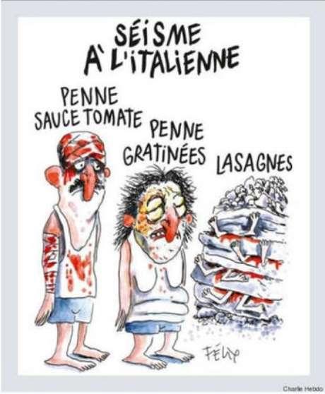Charge publicada pelo Charlie Hebdo após terremoto de Amatrice
