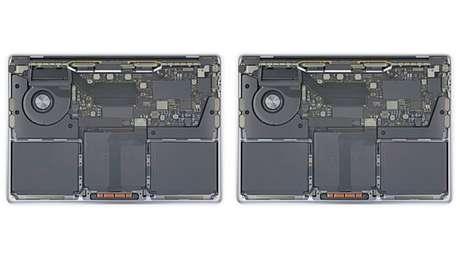 MacBook Pro com processador Intel e com Apple M1 lado a lado (Imagem: Reprodução/iFixit)