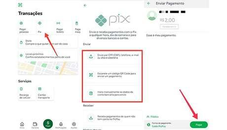 Processo para transferir dinheiro no PicPay usando o Pix (Imagem: Reprodução/PicPay)