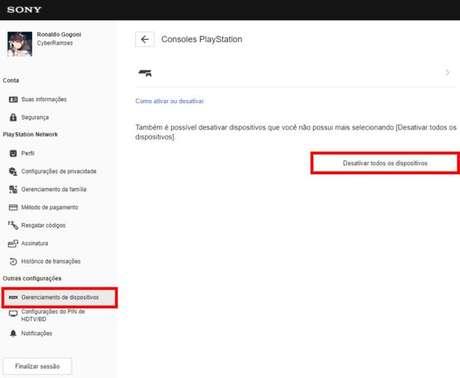 Página de gerenciamento da conta PSN (Imagem: Reprodução/Sony)