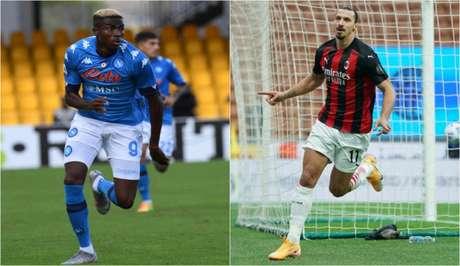 Osimhen é dúvida no Napoli, mas Ibrahimovic deve ser titular no Milan (Foto: Divulgação/Napoli; Divulgação/Milan)