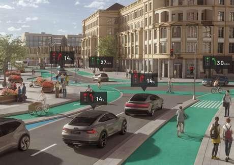 A cidade do futuro com carros autônomos (Imagem: Divulgação/Audi)