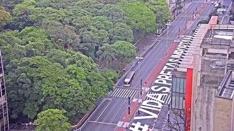 Uma das pistas da Avenida Paulista foi pintada por um grupo de artistas
