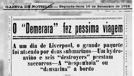 """O jornal Gazeta de Notícias, do Rio de Janeiro, classificou como """"péssima"""" a viagem do Demerara e motivos para isso não faltaram"""