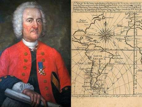 Frézier e o frontispício de seu livro 'Uma viagem ao Mar do Sul e ao longo das costas do Chile e do Peru, nos anos de 1712, 1713 e 1714'