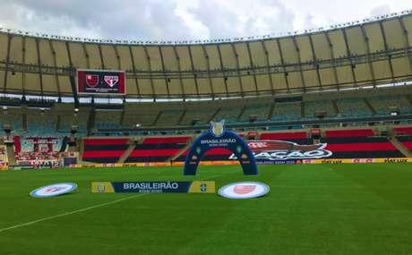 Gramado do Maracanã na partida entre Flamengo e São Paulo (Foto: Reprodução/Twitter do Flamengo)