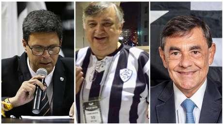 Alessandro Leite, Durcesio Mello e Walmer Machado (Fotos: Divulgação; Reprodução/Facebook; Vítor Silva/Botafogo)