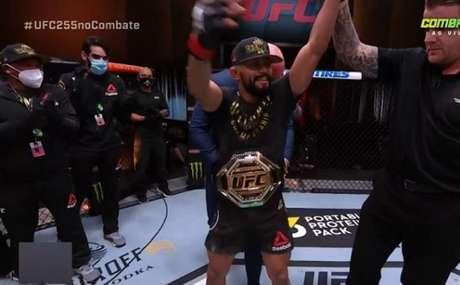 Deiveson Figueiredo manteve o cinturão peso-mosca com bela vitória sobre Perez (Foto: Reprodução/Combate)