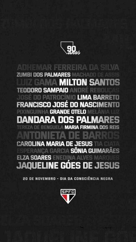 Iniciativa para o jogo deste domingo, contra o Vasco, no Morumbi (Reprodução/Twitter @SaoPauloFC)