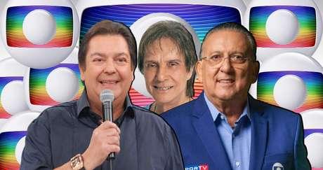Faustão, Roberto Carlos e Galvão: Globo não quer abrir mão deles, porém precisa pensar no futuro