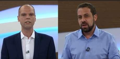 Bruno Covas (PSDB) e Guilherme Boulos (PSOL) durante o programa Roda Viva, da TV Cultura