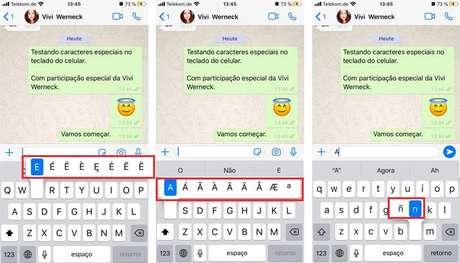 Revelando caracteres especiais teclado celular. (Imagem: Reprodução/WhatsApp)