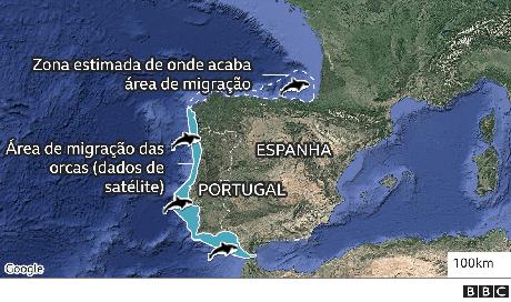 mapa da área habitada pelas orcas