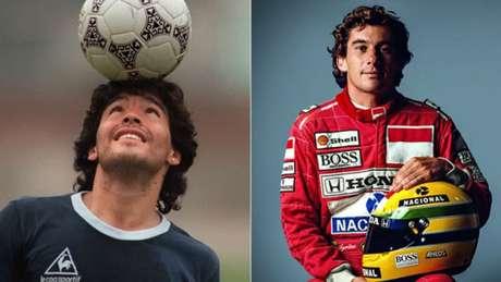 Internautas comparam idolatrias de Maradona e Ayrton Senna (AFP; Divulgação)