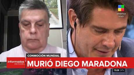 Cabisbaixos e abatidos, jornalistas argentinos prestam homenagem a Maradona na TV