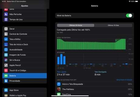 iPadOS com consumo de bateria (Imagem: reprodução)