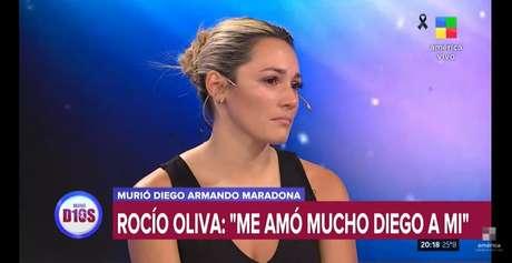 Rocío Oliva se emocionou ao vivo na TV poucas horas depois do comunicado da morte de Maradona