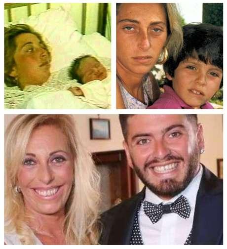 Acima, Cristiana Sinagra e Diego Junior logo após o parto e alguns anos depois; abaixo, mãe e filho em foto recente