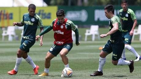 Veiga e Willian treinaram com o grupo palmeirense nesta segunda-feira (Foto: Cesar Greco/Palmeiras)
