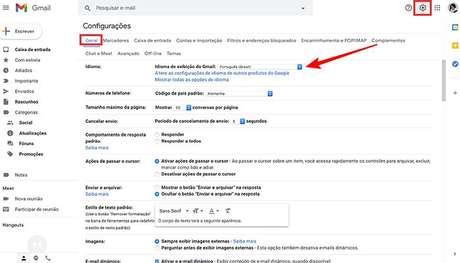 Configurando Gmail em português na versão browser. (Imagem: Reprodução/Gmail)