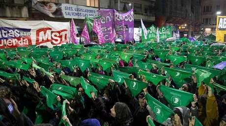 Um das marchas a favor da aprovação da lei de aborto na Argentina