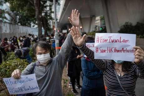 Protesto contra condenação de ativistas em Hong Kong