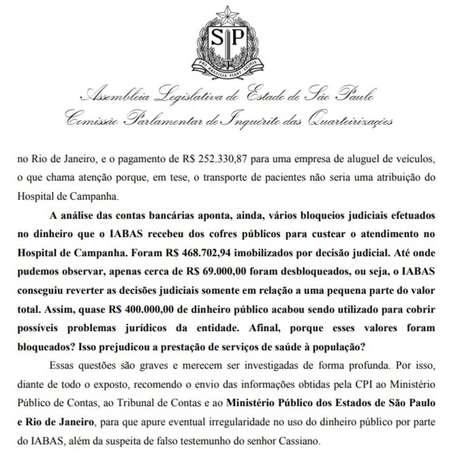Trecho do relatório da CPI das Quarteirizações, da Alesp, mostra o uso da verba relacionada ao hospital de campanha do Anhembi